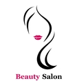 beauty salon icon with woman silhouette vector image vector image