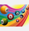 bingo balls over curved rainbow vector image vector image