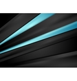 Black tech background with blue smooth stripes vector image vector image