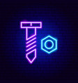 bolt nut neon sign vector image