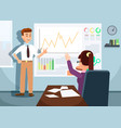 businessman showing growing stock chart to woman vector image vector image