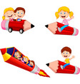 cartoon children riding pencil toys collection set vector image