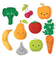 cartoon funny fruits and vegetables vector image