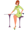 cartoon woman in green uniform with brush vector image vector image