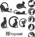 cat logo set vector image vector image