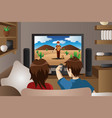 couple watching television at home vector image