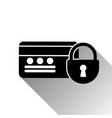 credit card and lock icon with shadow on white vector image