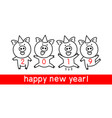cute funny pig happy new year chinese symbol of vector image vector image