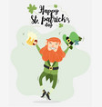 cute leprechaun with beer and pipe vector image