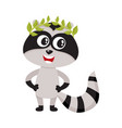 cute little raccoon character champion winner vector image vector image
