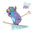 cute yeti skiing print vector image vector image