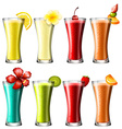 Different kind of cocktail in glasses vector image vector image