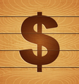 dollar on wooden background vector image vector image