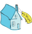drawn colored blue house for sale vector image vector image