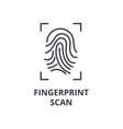 fingerprint scan line icon outline sign linear vector image
