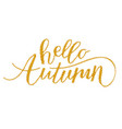 golden lettering hello autumn vector image