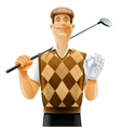 golf player with club and ball vector image vector image