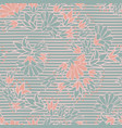 green pink flowers on stripes seamless vector image vector image