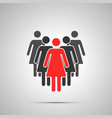 group women silhouettes with red leader simple vector image vector image