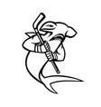 hammerhead shark with ice hockey stick mascot vector image vector image