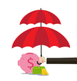 Hand of business man holding the red umbrella to vector image