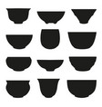 isolated chinese tea cup silhouette set vector image