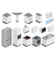 isometric boxes of equipment for kitchen project vector image
