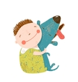 Little boy with a dog hugging vector image