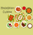 malaysian cuisine icon of dinner with dessert vector image vector image