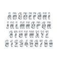 metal 3d font realistic silver capital english vector image