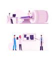 mri scanning procedure set doctors looking at vector image vector image