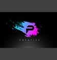 p artistic brush letter logo design in purple