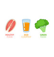 paper cut out logo set with eco green food vector image vector image