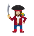 Pirate captain with parrot cartoon flat