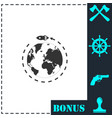 planet with rocket icon flat vector image vector image