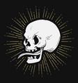 retro hand drawn skull with sunburst vector image