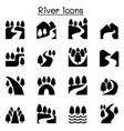 river lake canal nature icons set vector image