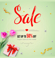 sale banner with flowers of tulips gift box with vector image