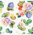 seamless floral pattern with hydrangea flowers and vector image vector image