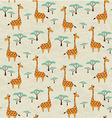 Seamless pattern with cute giraffes and trees vector image vector image