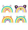 set isolated cute baby animals rainbows part 2