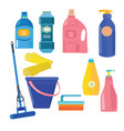 set of cleaning tools vector image vector image