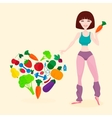 Slim athletic girl fresh vegetables and fruits vector image vector image