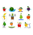 sport fruits characters funny fruit foods on vector image