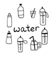sport water bottles glasses jars set on white vector image