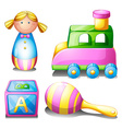 Toys set on white vector image vector image