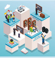 university students isometric composition vector image vector image