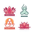 yoga monograms and logos set vector image