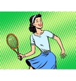 Young woman playing tennis retro style pop art vector image