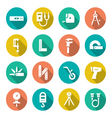 Set flat icons of measuring tools vector image